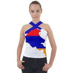 Flag Map Of Armenia Cross Neck Velour Top by abbeyz71