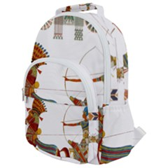 Egypt Egyptian Pharaonic Horses Rounded Multi Pocket Backpack