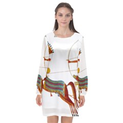 Egypt Egyptian Pharaonic Horses Long Sleeve Chiffon Shift Dress