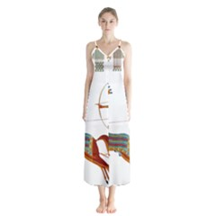 Egypt Egyptian Pharaonic Horses Button Up Chiffon Maxi Dress