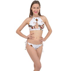 Egypt Egyptian Pharaonic Horses Cross Front Halter Bikini Set