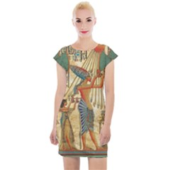 Egyptian Man Sun God Ra Amun Cap Sleeve Bodycon Dress