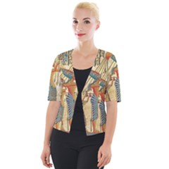 Egyptian Man Sun God Ra Amun Cropped Button Cardigan by Sapixe