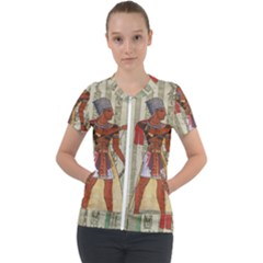 Egyptian Design Man Royal Short Sleeve Zip Up Jacket