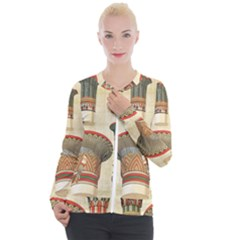 Egyptian Architecture Column Casual Zip Up Jacket