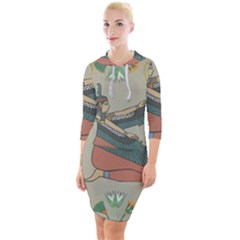 Egyptian Woman Wings Design Quarter Sleeve Hood Bodycon Dress