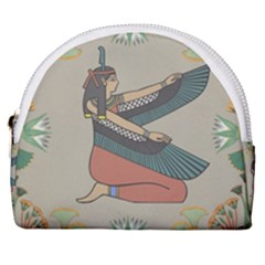 Egyptian Woman Wings Design Horseshoe Style Canvas Pouch by Sapixe