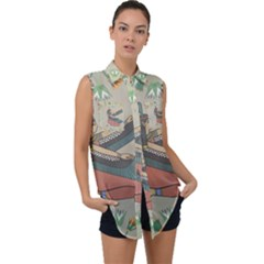 Egyptian Woman Wings Design Sleeveless Chiffon Button Shirt by Sapixe