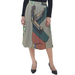 Egyptian Woman Wings Design Classic Velour Midi Skirt