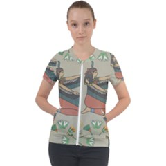 Egyptian Woman Wings Design Short Sleeve Zip Up Jacket