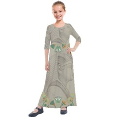 Pharaoh Egyptian Design Man King Kids  Quarter Sleeve Maxi Dress