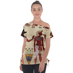 Egyptian Design Man Woman Priest Tie Up Tee by Sapixe