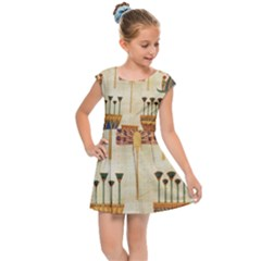 Egyptian Paper Papyrus Hieroglyphs Kids  Cap Sleeve Dress by Sapixe