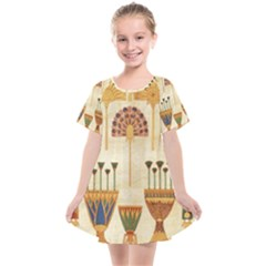 Egyptian Paper Papyrus Hieroglyphs Kids  Smock Dress by Sapixe