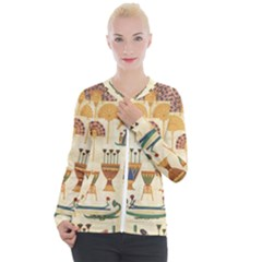 Egyptian Paper Papyrus Hieroglyphs Casual Zip Up Jacket