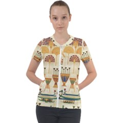 Egyptian Paper Papyrus Hieroglyphs Short Sleeve Zip Up Jacket