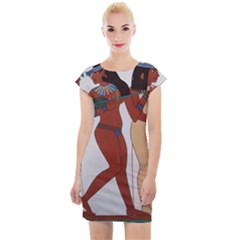 Egypt Fresco Mural Decoration Cap Sleeve Bodycon Dress