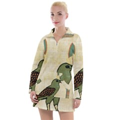 Egyptian Paper Papyrus Bird Women s Long Sleeve Casual Dress by Sapixe