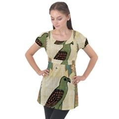 Egyptian Paper Papyrus Bird Puff Sleeve Tunic Top