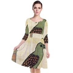 Egyptian Paper Papyrus Bird Quarter Sleeve Waist Band Dress