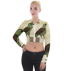 Egyptian Paper Papyrus Bird Long Sleeve Cropped Velvet Jacket