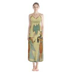 Egyptian Design Man Artifact Royal Button Up Chiffon Maxi Dress