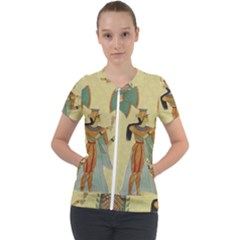 Egyptian Design Man Artifact Royal Short Sleeve Zip Up Jacket