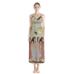 Egyptian Paper Women Child Owl Button Up Chiffon Maxi Dress