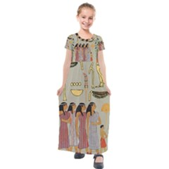 Egyptian Paper Women Child Owl Kids  Short Sleeve Maxi Dress by Sapixe