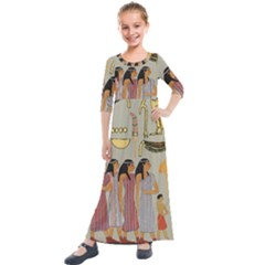 Egyptian Paper Women Child Owl Kids  Quarter Sleeve Maxi Dress