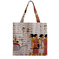 Egyptian Design Men Worker Slaves Zipper Grocery Tote Bag by Sapixe