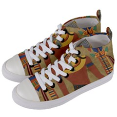 Egyptian Tutunkhamun Pharaoh Design Women s Mid Top Canvas Sneakers by Sapixe