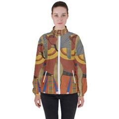 Egyptian Tutunkhamun Pharaoh Design Women s High Neck Windbreaker by Sapixe