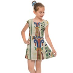 Egyptian Paper Papyrus Hieroglyphs Kids  Cap Sleeve Dress