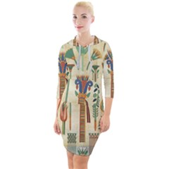 Egyptian Paper Papyrus Hieroglyphs Quarter Sleeve Hood Bodycon Dress