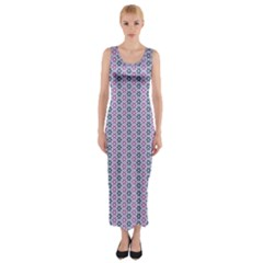 Pattern Star Flower Backround Fitted Maxi Dress by HermanTelo