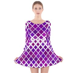 Pattern Square Purple Horizontal Long Sleeve Velvet Skater Dress