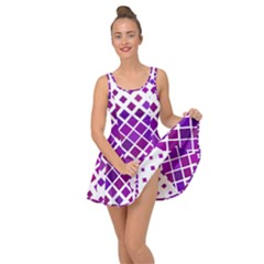 Pattern Square Purple Horizontal Inside Out Casual Dress