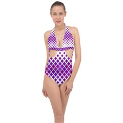 Pattern Square Purple Horizontal Halter Front Plunge Swimsuit by HermanTelo