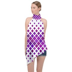 Pattern Square Purple Horizontal Halter Asymmetric Satin Top by HermanTelo