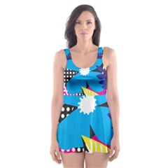 Pattern Leaf Polka Leaves Skater Dress Swimsuit