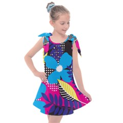Pattern Leaf Polka Leaves Kids  Tie Up Tunic Dress