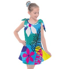 Pattern Leaf Polka Flower Kids  Tie Up Tunic Dress