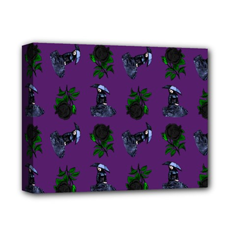 Gothic Girl Rose Purple Pattern Deluxe Canvas 14  X 11  (stretched)