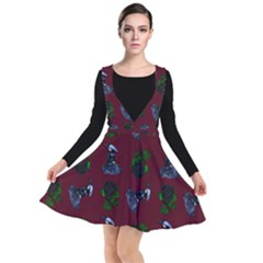 Gothic Girl Rose Red Pattern Plunge Pinafore Dress
