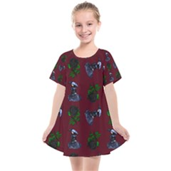 Gothic Girl Rose Red Pattern Kids  Smock Dress