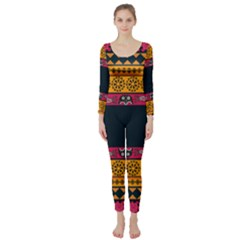 Pattern Ornaments Africa Safari Long Sleeve Catsuit by HermanTelo