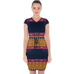 Pattern Ornaments Africa Safari Capsleeve Drawstring Dress
