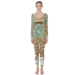 Pattern Leaves Banana Rainbow Long Sleeve Catsuit