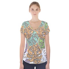 Pattern Leaves Banana Rainbow Short Sleeve Front Detail Top